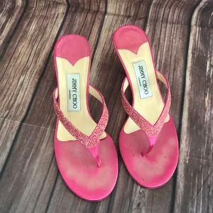 Jimmy Choo hot pink glitter sandals kitten heel